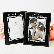 Personalized Black Glass Frame w/Silver Glitter Border