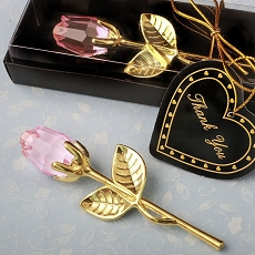 Crystal Gold Long Stem Pink Rose From Fashioncraft