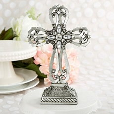 Large Pewter Cross Statue W/Antique Accent