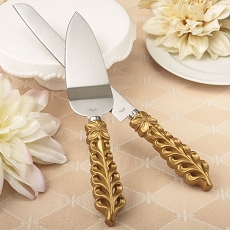 Gold Lattice Botanical Collection Stainless Cake Knife Set