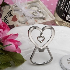 Heart Shaped Silver Metal Bottle Opener W/Dangling Heart