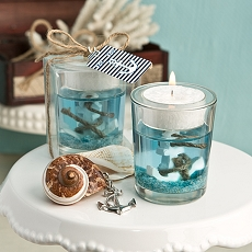Nautical Themed Gel Candle Holder W/Anchor Design