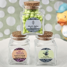 Personalized Expressions Collection Square Clear Glass Treat Jar-Baby