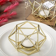 Gold Hexagon Shaped Geometric Design Tea Light/Votive