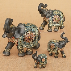 Set of 4 Mahogany Brown Elephants (4 sizes) - Fashioncraft