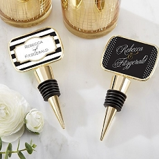 Personalized Gold Bottle Stopper Epoxy Dome - Classic