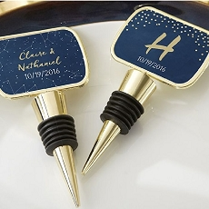 Personalized Gold Bottle Stopper with Epoxy Dome - Under the Stars