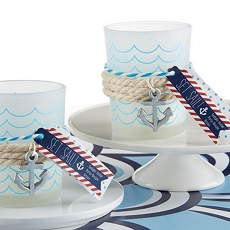 Nautical Frosted Glass Tea Light Holder - Anchor Charm (Set of 4)
