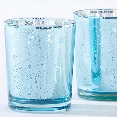 Light Blue Mercury Glass Tea Light Holder (Set of 4)