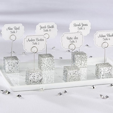 Silver Glitter Placecard Holders (Set of 6)