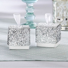 Sparkle and Shine Silver Glitter Favor Box (Set of 24)