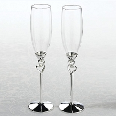 Silver Heart Toasting Glasses