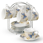 Butterfly Motif Set of 4 Espresso Cups