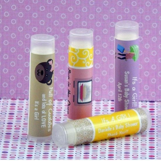 baby personalized girl baby shower lip balm favors set of 15