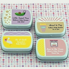 Personalized Girl Baby Shower Mint Tins (set of 15)