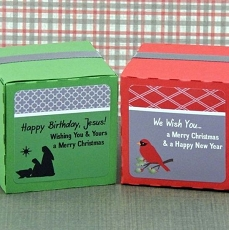 Personalized Christmas Square Favor Labels (Set of 12)