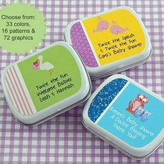 Personalized Twins Baby Shower Mint Tins (set of 15)