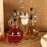 Deluxe Mini Cruet Set Shakers, & Chrome Rack
