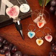 Roses In Bloom Glass Bottle Stopper/Wine Charm Set