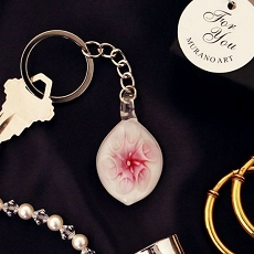 Pink Lily Arte Murano Glass Key Chain