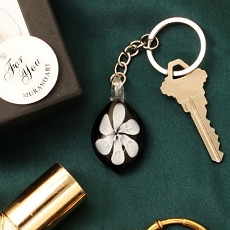White Lily Arte Murano Glass Key Chain