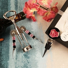 Rose Of Glass Arte Murano Bottle Opener/Stopper Set