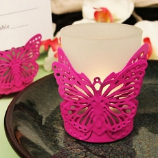 Latticed Pink Butterfly Candle/Card Holder