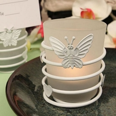 Butterfly Heart White Steel Candle Holder  w/Tea Light