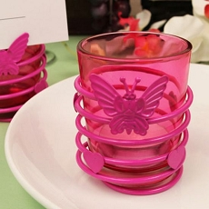 Butterfly Heart Hot Pink Steel Candle Holder  w/Tea Light