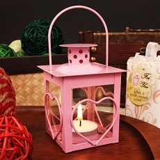 Heart Pink Steel Lantern  w/Tea Light Candle