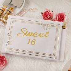 Sweetest Wishes Guest Book w/Gold Accents