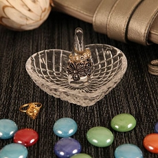 Crystal Heart Jewelry Dish w/Ring Holder