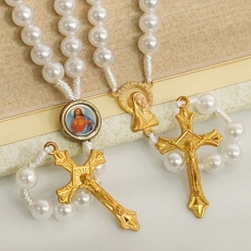 Prayer Beads White and Gold Rosary (Assorted)