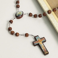 Prayer Beads Clear and Wood Rosary