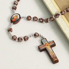 Prayer Beads Silver and Wood Rosary
