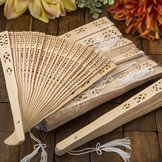 Intricately Carved Sandalwood Fan Favors-Fashioncraft