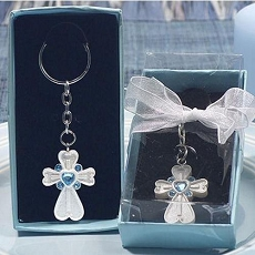 Cross Design Key Chains with Blue Crystals