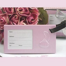 Pink Metal Luggage Tag