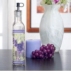 Glass Oil Bottle w/Grapes Design