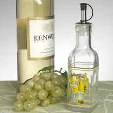 Small Oil Bottle w/White Wine Design