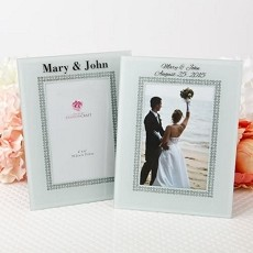 Personalized  White Glass Frame with Silver