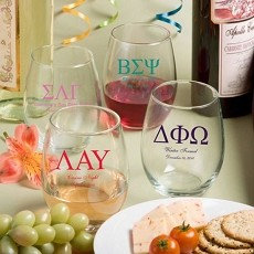 15 Ounce Stemless Wine Glasses-Greek