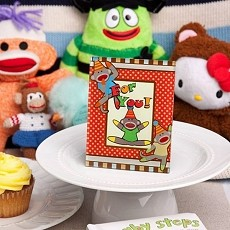 Cheery Sock Monkey Picture/Place Card Frames