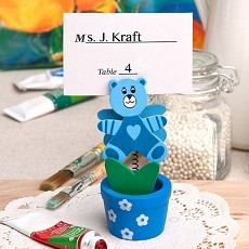 Blue Teddy Bear/Flower Pot Card Holder