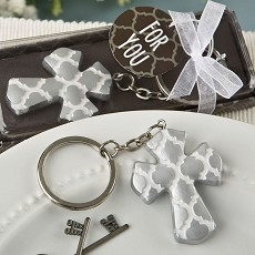 Silver Cross Key Chain with Hampton Link Design From Fashioncraft