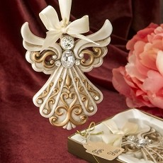 Antique Ivory Angel Ornament with Filigree Detailing