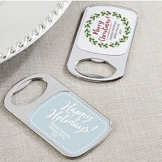 Personalized Silver Bottle Opener with Epoxy Dome - Holiday