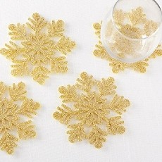 Gold Glitter Snowflake Felt Coaster (Set of 4)