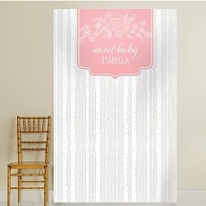 Personalized Photo Booth Backdrop -  Rustic Baby  - Trees