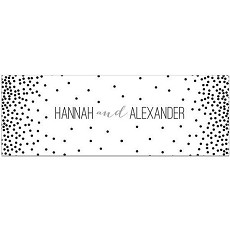 Personalized Black & White Dotted Table Runner